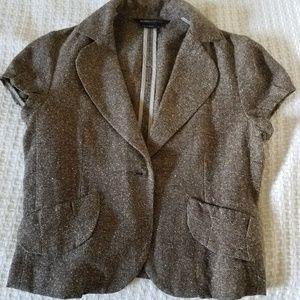 BCBG Max Azria brown tweed cap sleeve jacket